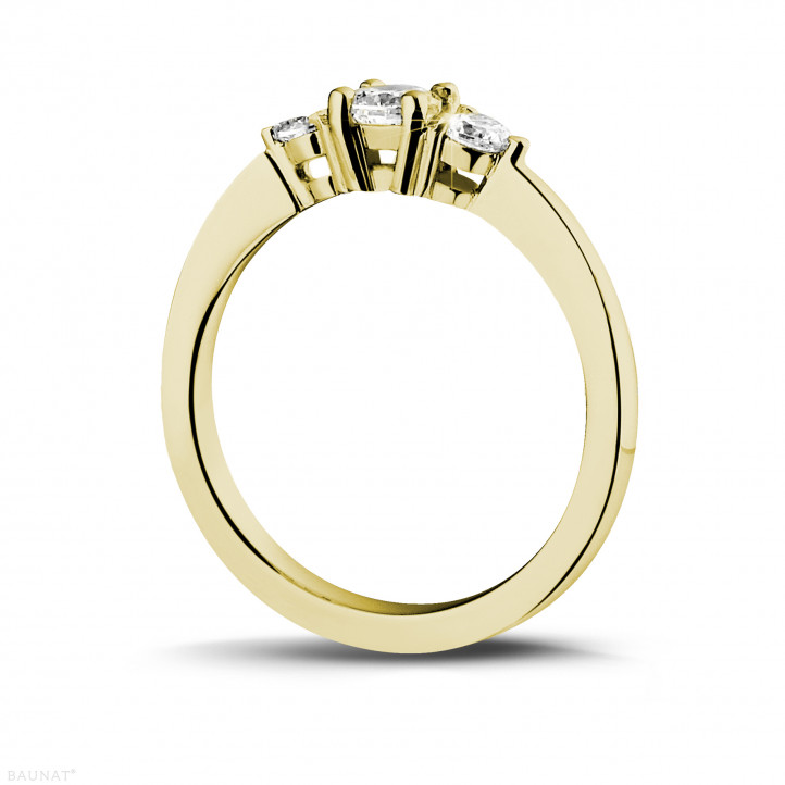 0.45 carat trilogy ring in yellow gold with round diamonds