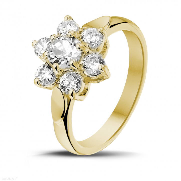 1.15 carat diamond flower ring in yellow gold