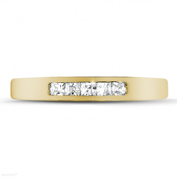 0.30 carat yellow golden eternity ring with princess diamonds