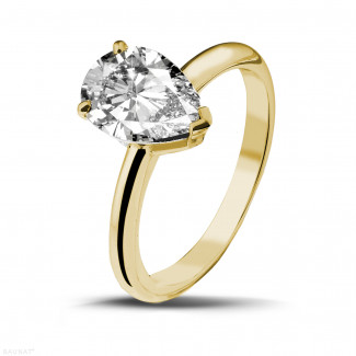 Yellow Gold Diamond Engagement Rings - 2.00 carat solitaire ring in yellow gold with pear shaped diamond