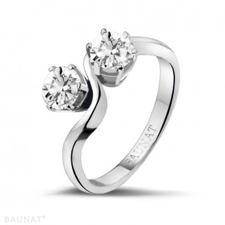 White Gold Diamond Engagement Rings - 1.00 carat diamond Toi et Moi ring in white gold