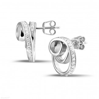 Earrings - 1.30 carat diamond design earrings in white gold