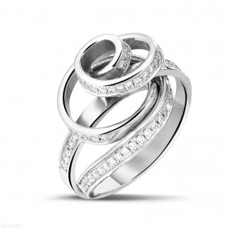 White Gold Diamond Engagement Rings - 0.85 carat diamond design ring in white gold