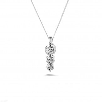 White Gold Diamond Necklaces - 0.57 carat trilogy diamond pendant in white gold
