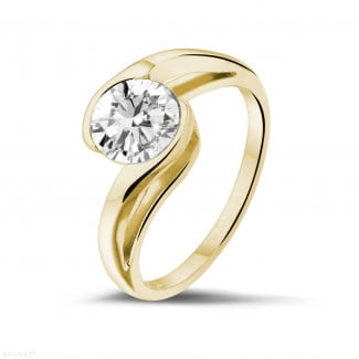 Yellow Gold Diamond Engagement Rings - 1.25 carat solitaire diamond ring in yellow gold