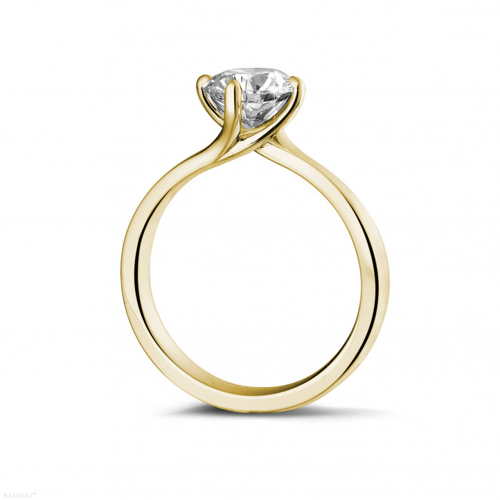 1 25 carat solitaire diamond ring in yellow gold