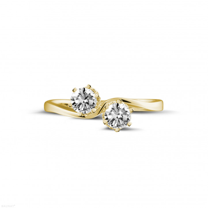 0.50 carat diamond Toi et Moi ring in yellow gold