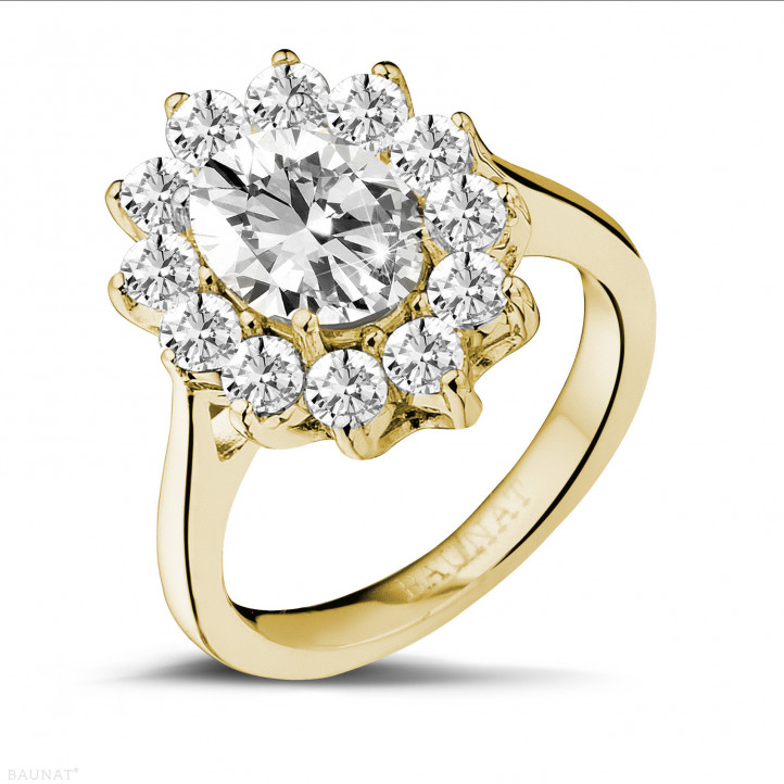 2.85 carat entourage ring in yellow gold with oval diamond