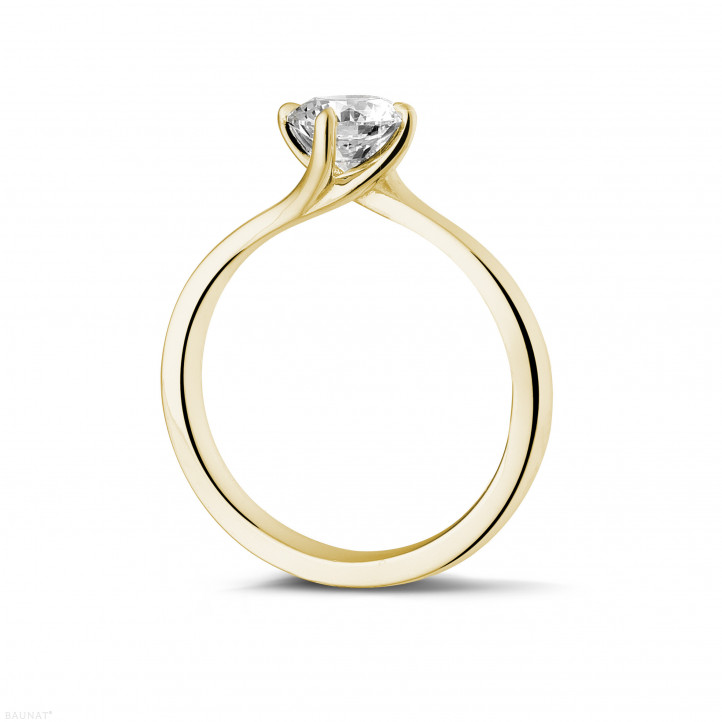 0.70 carat solitaire diamond ring in yellow gold