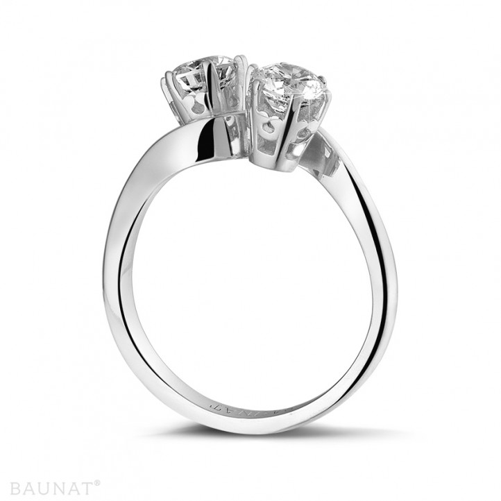 1.00 carat diamond Toi et Moi ring in platinum