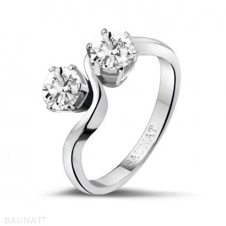 Platinum Diamond Rings - 1.00 carat diamond Toi et Moi ring in platinum