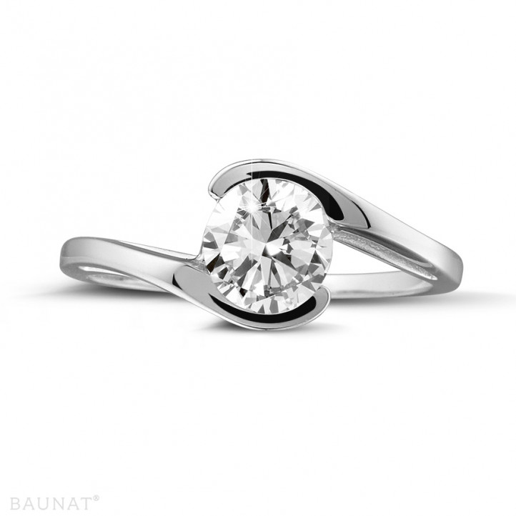 0.70 carat solitaire diamond ring in platinum