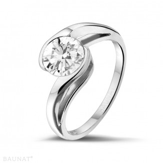 Platinum Diamond Engagement Rings - 1.25 carat solitaire diamond ring in platinum