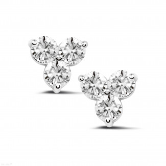 2.00 carat diamond trilogy earrings in platinum