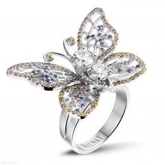 White Gold Diamond Rings - 2.00 carat diamond butterfly design ring in white gold with sapphire