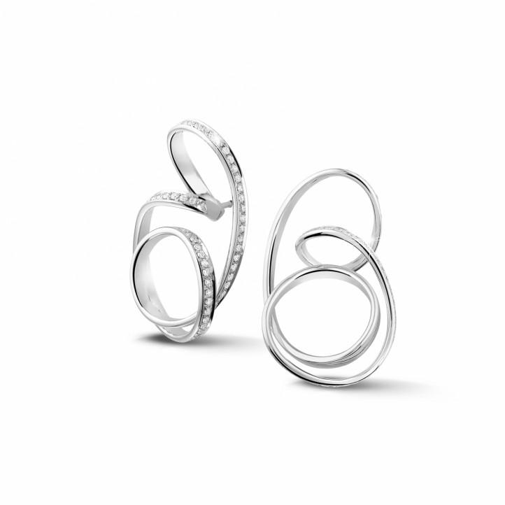 1.50 quilates pendientes diamantes diseño en oro blanco