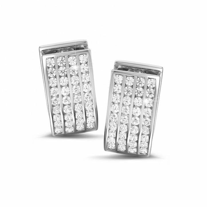 2.16 quilates pendientes diamantes en oro blanco