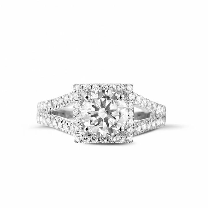 1.20 quilates anillo de platino de diamantes con diamantes en los lados