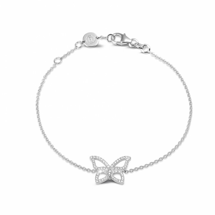 0.30 quilates pulsera mariposa diamante diseño en oro blanco