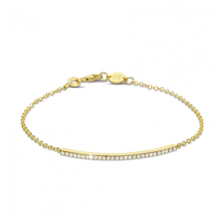 0.25 quilates pulsera fina diamante en oro amarillo