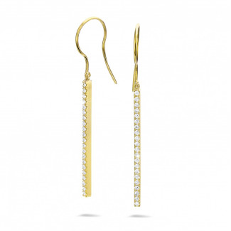 0.35 quilates pendientes diamantes de barras en oro amarillo