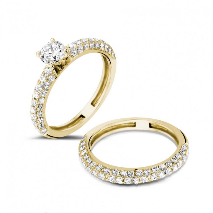 0.50 quilates anillos pareja de compromiso y boda de oro amarillo de diamantes y con diamantes en los lados