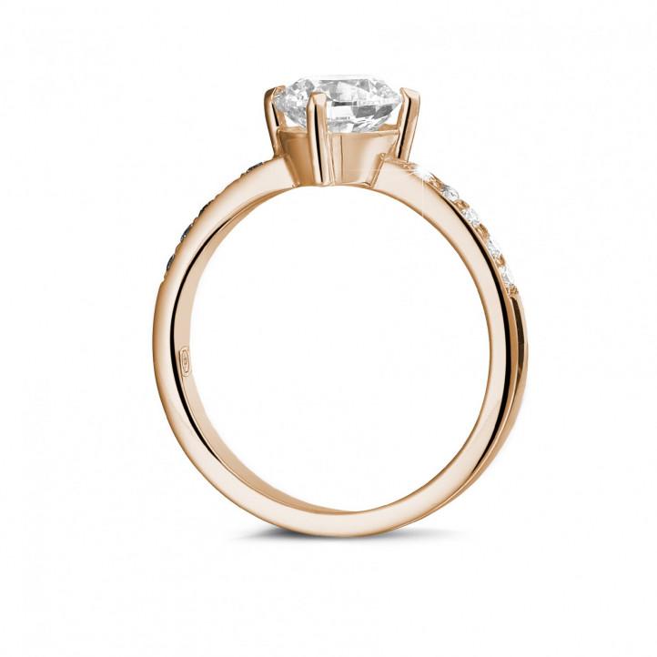 1.50 quilates anillo solitario diamante en oro rojo con diamantes en los