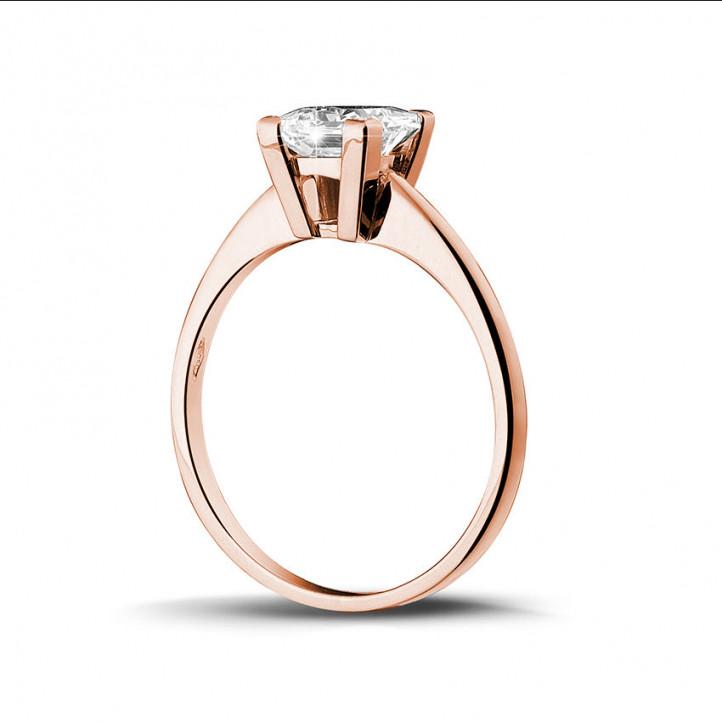 1.50 quilates anillo solitario en oro rojo con diamante talla princesa