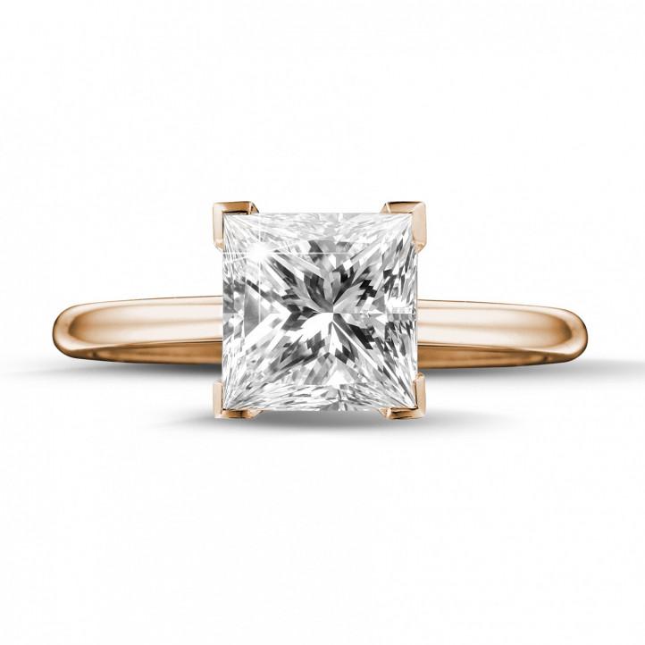 2.50 quilates anillo solitario en oro rojo con diamante talla princesa