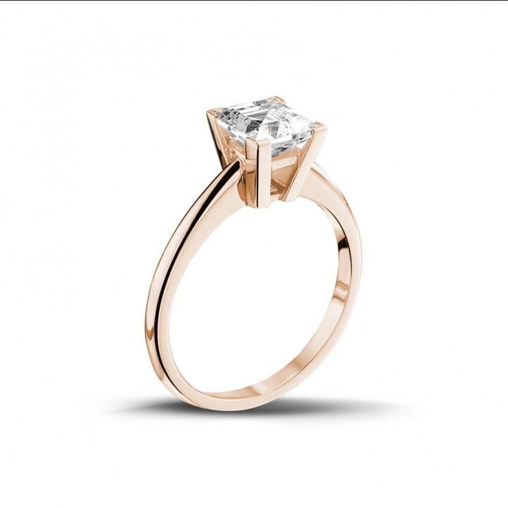 2.00 quilates anillo solitario en oro rojo con diamante talla princesa