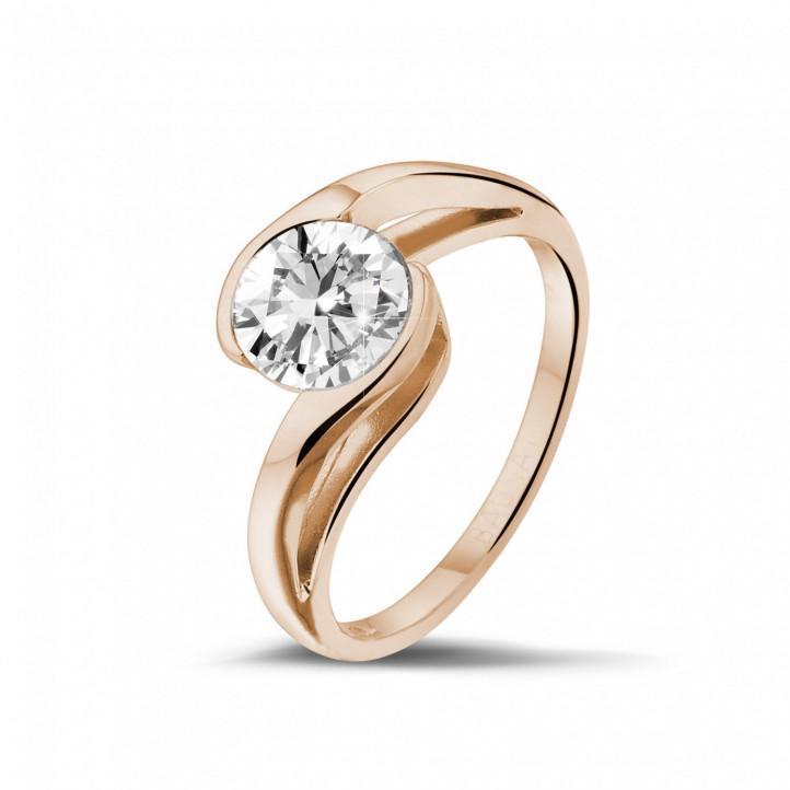 1.25 quilates anillo solitario diamante en oro rojo