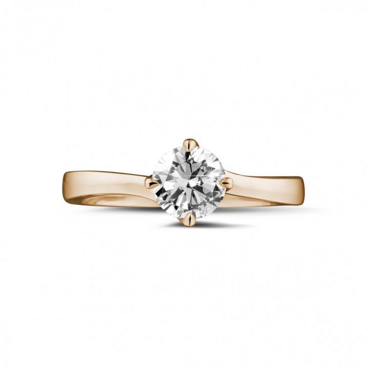0.70 quilates anillo solitario diamante en oro rojo