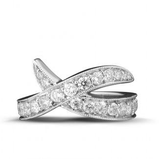 Nathu - 1.40 quilates anillo diamante diseño en oro blanco