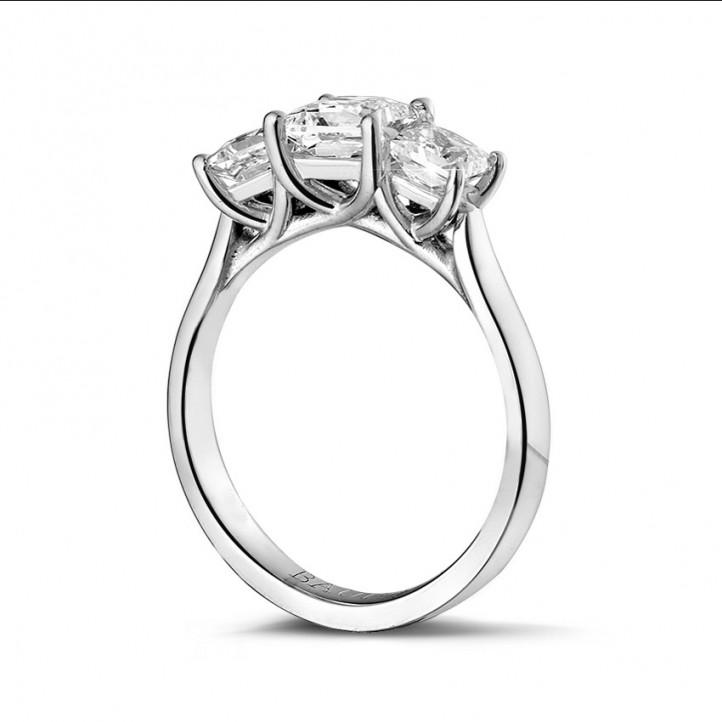 1.50 quilates anillo trilogía en platino con diamantes talla princesa