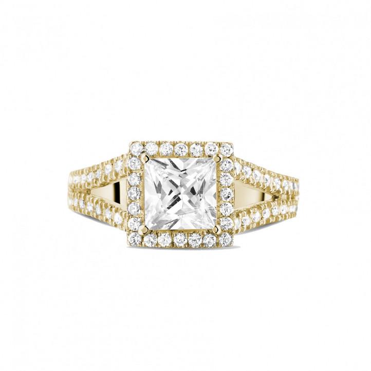 1.20 quilates anillo solitario en oro amarillo con diamante talla princesa y diamantes laterales