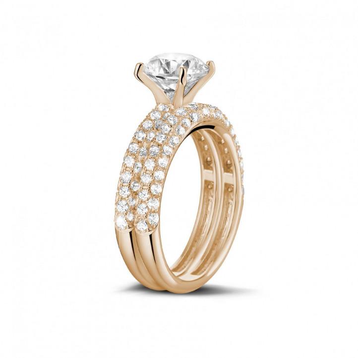 1.20 quilates anillos pareja de compromiso y boda de oro rojo de diamantes y con diamantes en los lados