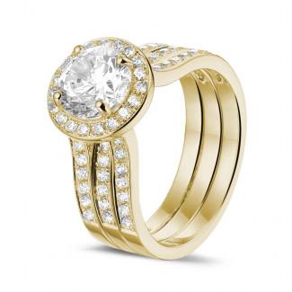 1.50 quilates anillo solitario diamante de oro amarillo con diamantes en los lados