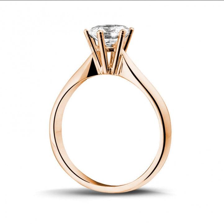0.90 quilates anillo solitario diamante en oro rojo