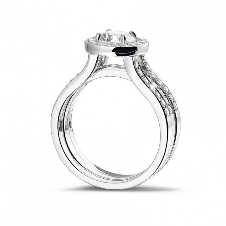 1.00 quilates anillo solitario diamante de platino con diamantes en los lados
