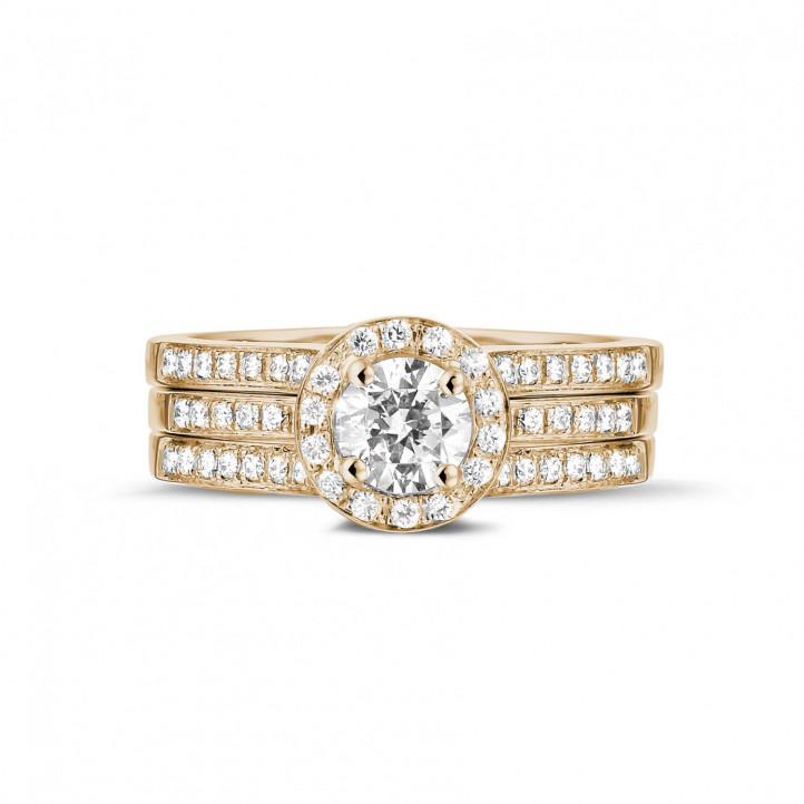 0.50 quilates anillo solitario diamante de oro rojo con diamantes en los lados