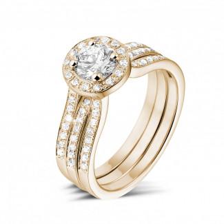 0.70 quilates anillo solitario diamante de oro rojo con diamantes en los lados