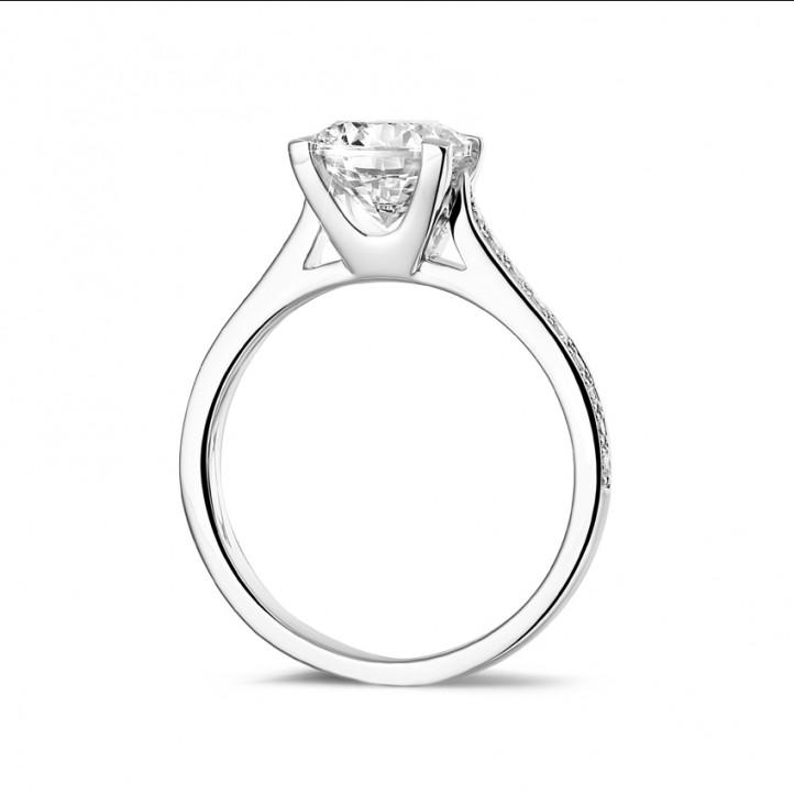 1.50 quilates anillo solitario diamante en platino con diamantes en los lados