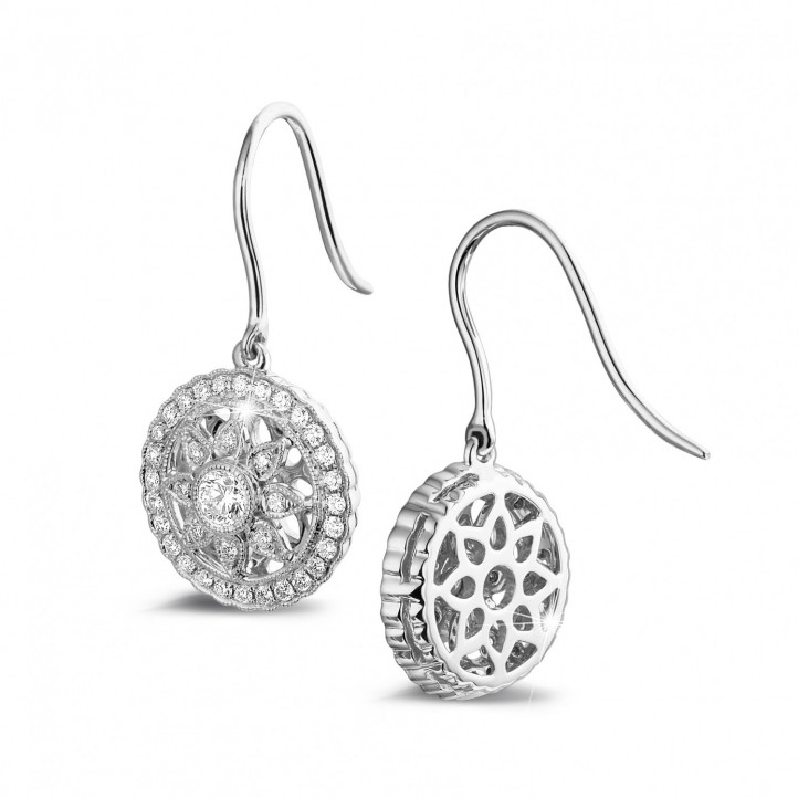 0.50 quilates pendientes diamantes en oro blanco