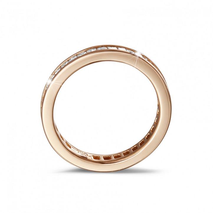 alianza 0.90 quilates en oro rosa con diamantes talla princesa  (circunferencia completa)