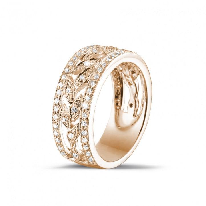 1b9fa00e867d 0.35 quilates alianza ancho floral en oro rosa con diamantes redondos