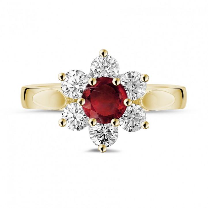 Anillo flor en oro amarillo con rubí redondo y diamantes en los lados