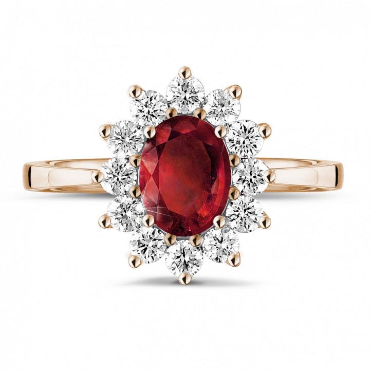 Anillo « entourage » en oro rojo con rubí ovalado y diamantes redondos