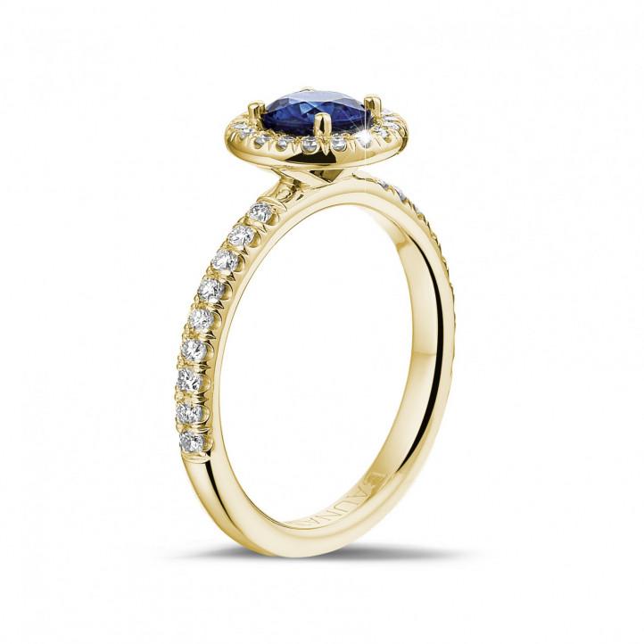 9f9293e35fd2 Halo anillo en oro amarillo con zafiro redondo y diamantes redondos ...