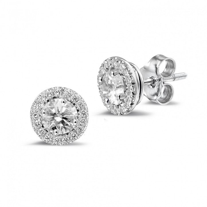 1.00 quilates pendientes diamantes halo en oro blanco