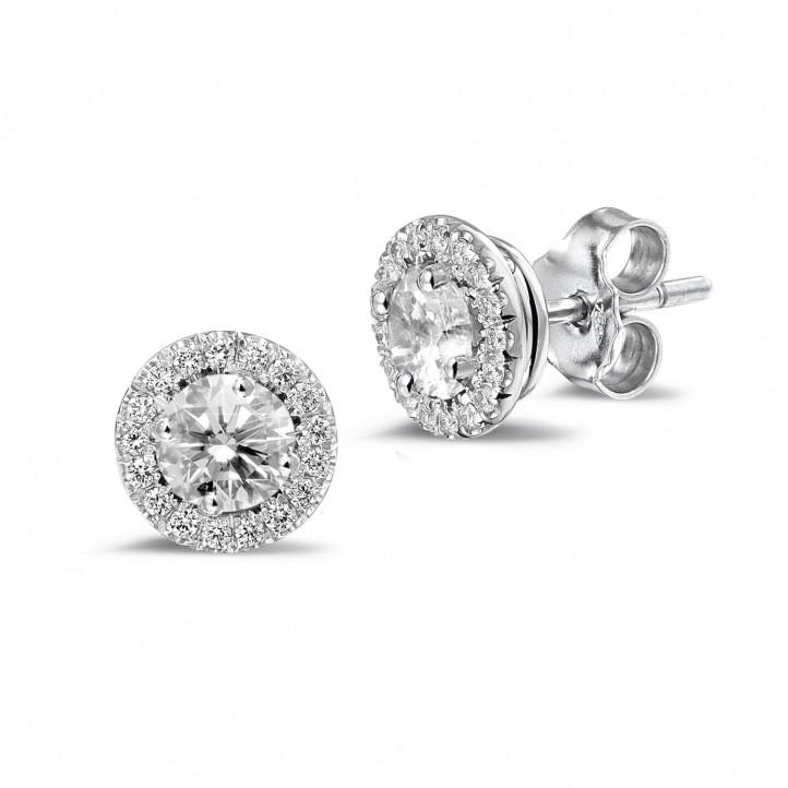 1.00 quilates pendientes diamantes halo en platino